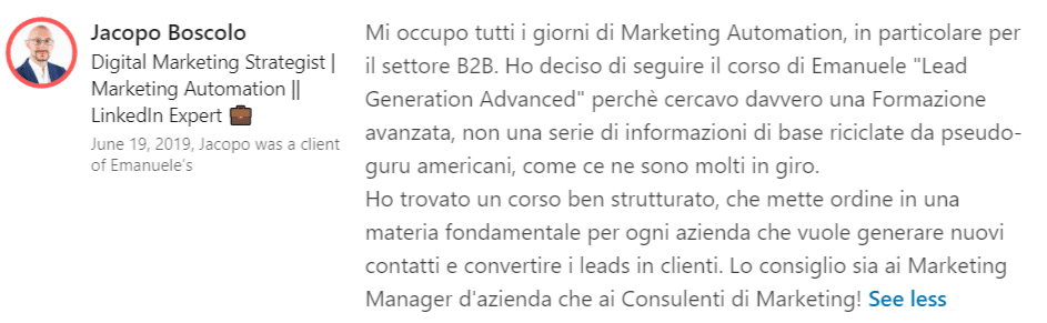 Recensione Lead Generation Advanced Jacopo